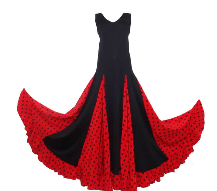 682e09450 LADY FLAMENCO DRESS BLACK AND RED WITH SMAL POLKA DOT – Pimiento Salsa