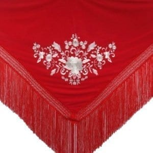 Flamenco shawl red and silver