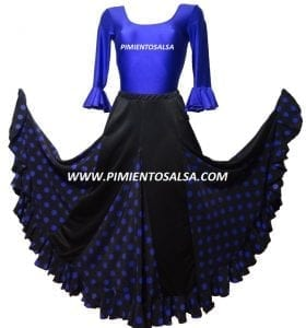 LADY FLAMENCO SKIRT BLACK POLKAT DOT PURPLE