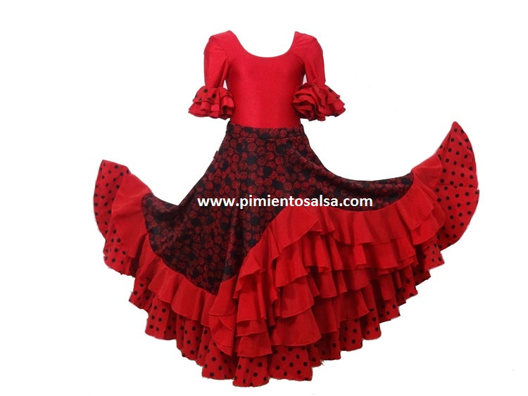 238e35a3b FLAMENCO SKIRT RED POLKA-DOT BLACK – Pimiento Salsa