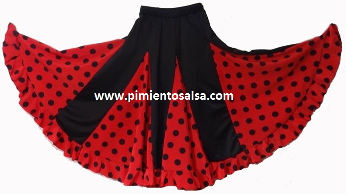 7793841aa FLAMENCO/ SEVILLAN SKIRT RED WITH BLACK POLKA DOTS – Pimiento Salsa