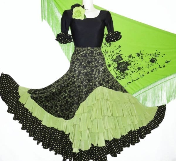 Flamenco skirt black/green