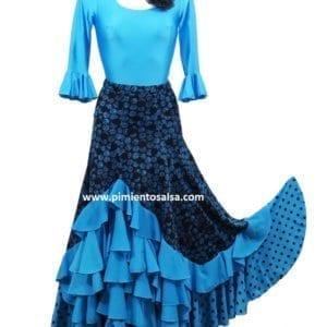 Flamenco lady skirt black and blue