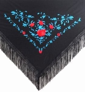 Flamenco shawl black and blue
