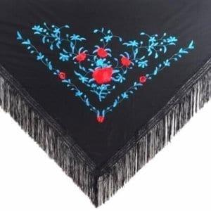 Flamenco shawl black and blue