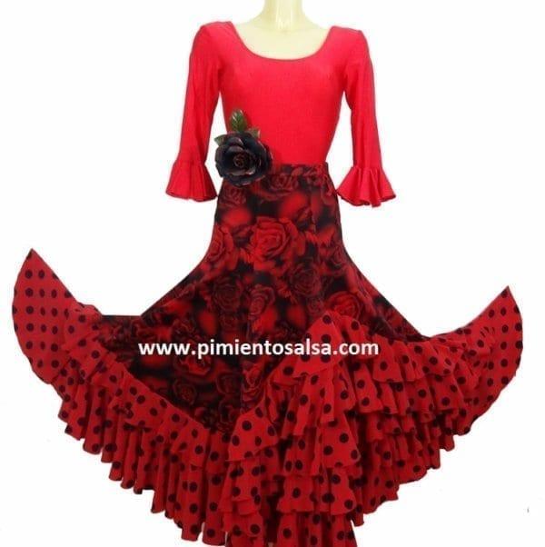 Flamenco skirt print flowers and polka dot