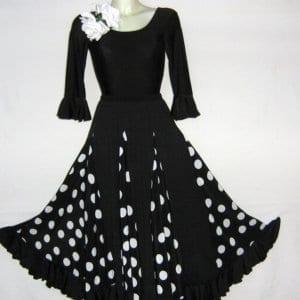 Lady flamenco skirt black polka dot white