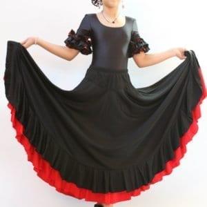 Flamenco skirt blck polka dot red