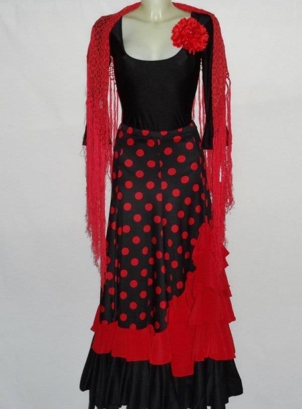 Flamenco skirt black red