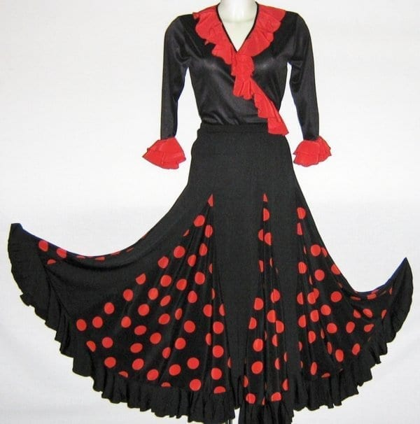 flamenco skirt black and red