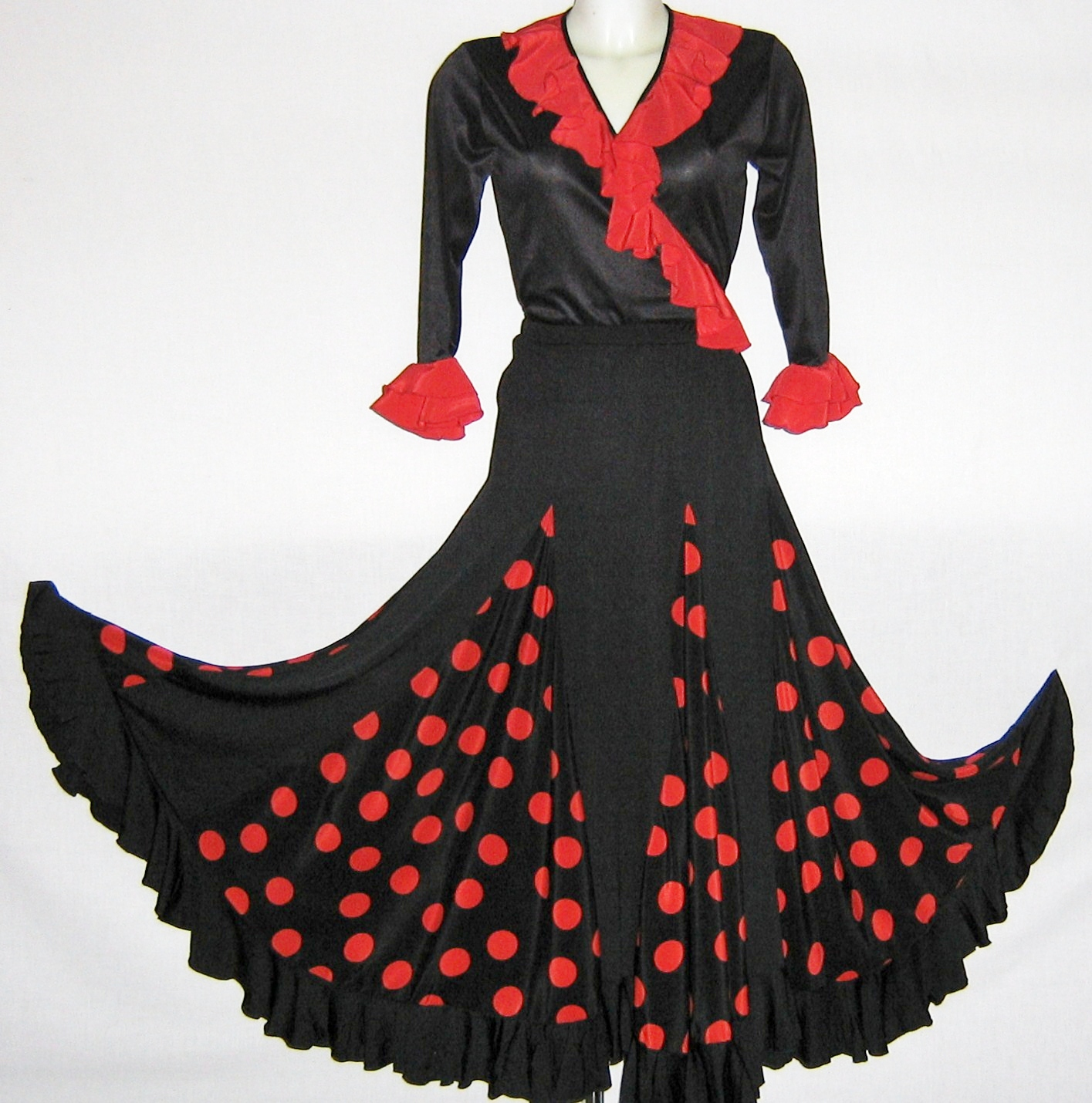 c65adf1fa BLACK SKIRT POLKA-DOT RED FLAMENCO – Pimiento Salsa
