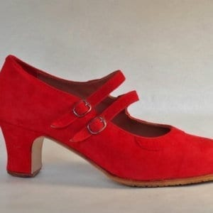 Flamenco red shoes to dancing