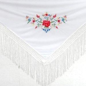 Flamenco children shawl white