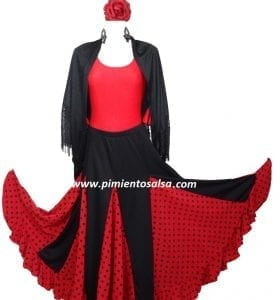 LADY FLAMENCO SKIRT BLACK POLKAT DOT RED
