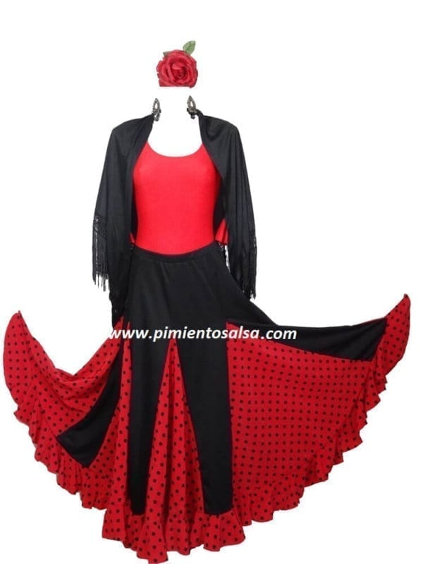 LADY FLAMENCO SKIRT BLACK POLKAT DOT RED